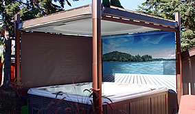Covana automated hot tub cover with island print