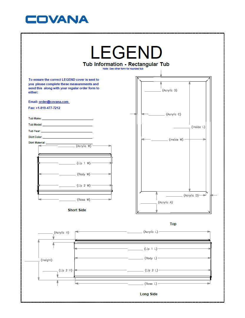 Covana Legend rectangular swim spa information form for cover
