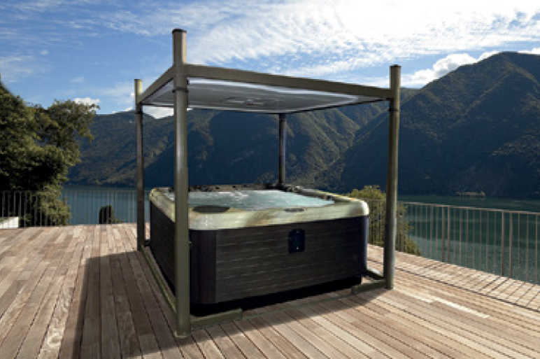 The Covana Evolution hot tub cover raises easily to provide shade in style.