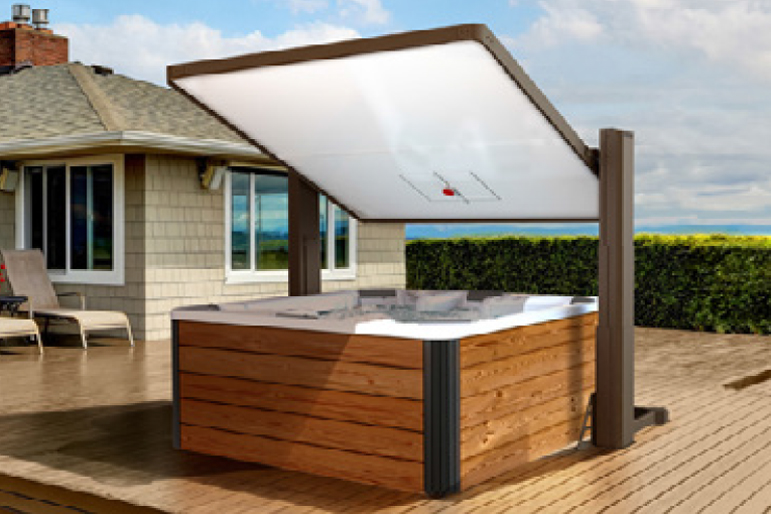 The Covana Horizon hot tub cover raises and tilts to provide shade while you relax in your hot tub.