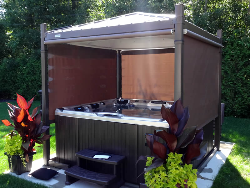 The Covana Oasis hot tub cover is a gazebo design with screened walls for your hot tub.